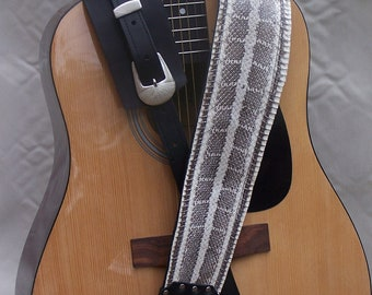 Real Snakeskin on Fancy Black Leather Guitar Strap silver buckle set