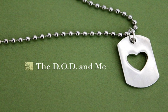Heart Dog Tag Necklace for Military Wives and Girlfriends