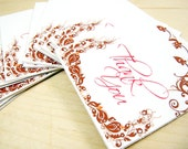 "Thank You Maroon Red/Pink Print Mini Cards with Florish Design - Cardstock - 2""x2"" - Set of 10 - Great for Wedding, Gift, Favors, and more"