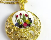 Golden Bouquet, Pressed Flowers on Ornate Thickly Gold Plated Pendant, Real Flowers,  Resin (1128)