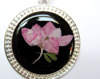 Pink Larkspur, Pressed Flower Pendant, Real Flowers, Resin (1100)