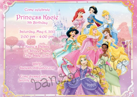 Disney Princess Birthday Invitation Tiana  Jasmine  Snow White Digital or Safari Jungle theme Digital File