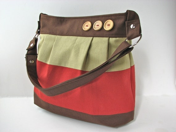 Cross Body Pleated Bag in Colorblock Brown, Green and Burnt Sienna - ready to ship