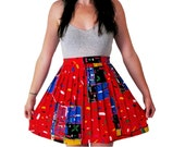 Graffiti Novelty Skirt, Red Pleat Mini Skirt, Confetti Print, MEDIUM. LARGE, XL