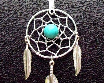 Dream catcher necklace in silver with turquoise and 1-inch dream web & three feathers