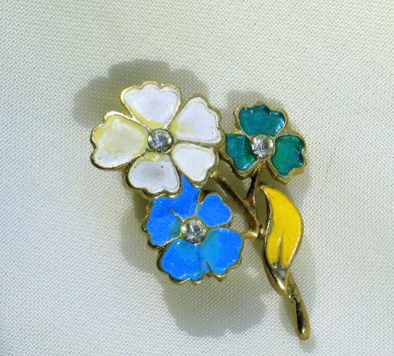 Brooch Vtg 50s Rhinestone Enamel Flower Vintage 1950s Costume Jewelry