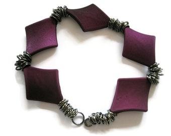 Bracelet Purple beads soft touch diamond shaped Antique black jump rings evening bracelet everyday bracelet statement bracelet