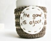 Shakespeare Coffee Cozy Mug Cozy Tea Cosy brown cream game is afoot Sherlock cover