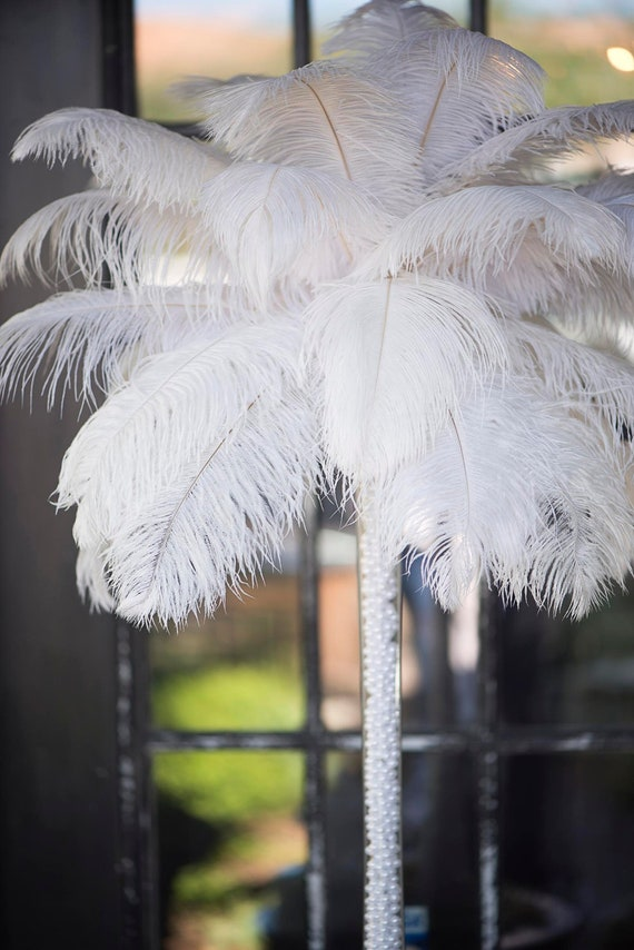 White Centerpiece Kit : Items similar to diy kit of white ostrich feather tower
