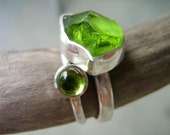 Two forms of a Stone - Rough and Cabochon - Custom made in your size - Two stacking rings in Sterling Silver