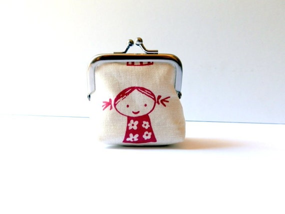 Small coin purse kawaii kids on white boy and girl school lunch money metal frame purse