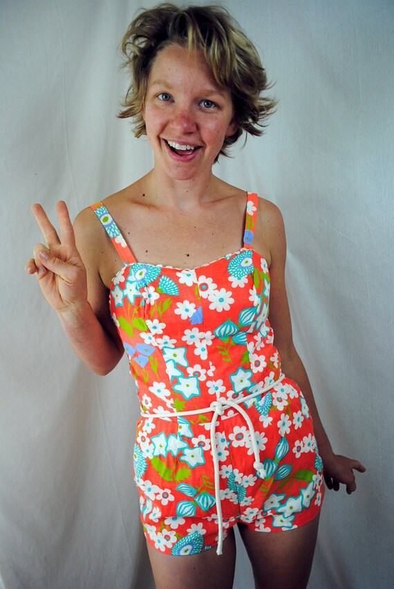 Funky Floral Vintage 60s Maillot One Piece Swimsuit