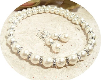 Bridal Jewelry, Necklace and Earrings, Pearl and Rhinestone, Wedding, Pearl Jewelry
