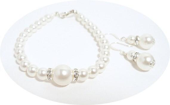 Bridal Jewelry, Pearl Bracelet and Earrings, Bridesmaid, Wedding Jewelry