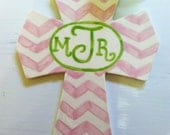 Personalized Chevron Ceramic Cross in Pink and Green That Comes in Your Color Choice and Makes Great Baptism, Christening or Graduation Gift