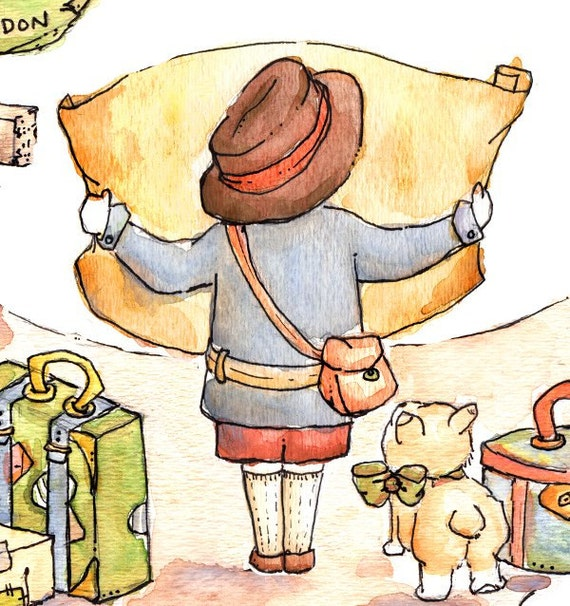 Children Art Print. VINTAGE Traveler at a Crossroads. PRINT 8X10. Nursery Art Home Decor