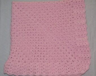 Handmade Pastel Pink Crocheted Baby Blanket Afghan