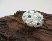 Egg Brooch - Creamy Vintage Pearl Pin with Aqua Rhinestones - Sky Baby Blue Aquamarine