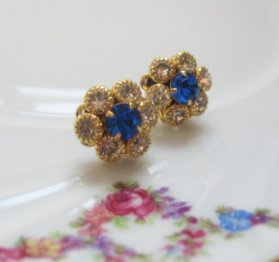 SALE - sapphire Blue Vintage Rhinestone Flower Cluster Petite Post Earrings - Mother's Day Gift