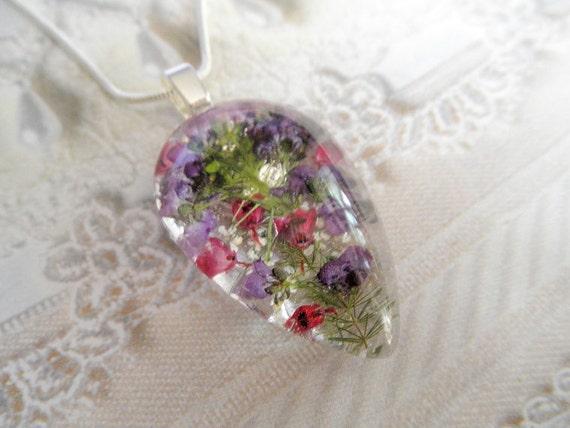 Peaceful Summer Garden-Alyssum, Heather, Queen Anne's Lace Pressed Flower Glass Teardrop Pendant-Symbolizes Peace, Worth Beyond Beauty