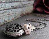 White Filigree Locket, Antique Silver Locket Necklace, Flower Charms, Vintage Long Locket - WHITE BOUQUET
