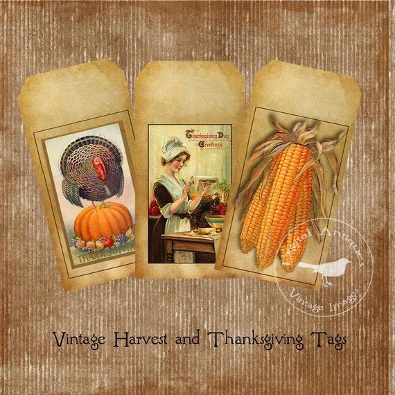 Vintage Thanksgiving Harvest Tags Printable Digital Download