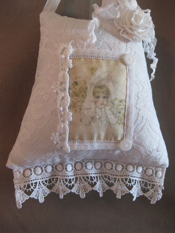 Shabby Chic Pillows White : Shabby Hanging PIllow Romantic White Shabby Chic Cottage