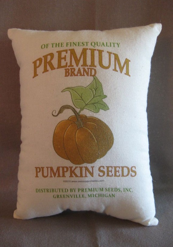 Feed Sack Pillow, Pumpkin, Pumpkin Seeds