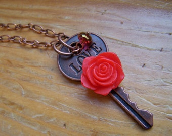 Love Key Necklace Red Rose