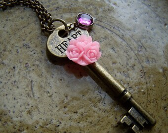 Pink Heart Key Necklace Pink Roses