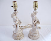 Lamps Cherubs Bisque Cupid Boudoir Pair Shabby Cottage French Country