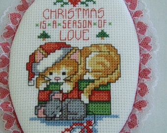 Cross Stitched  KITTY with MOUSE Christmas ornament
