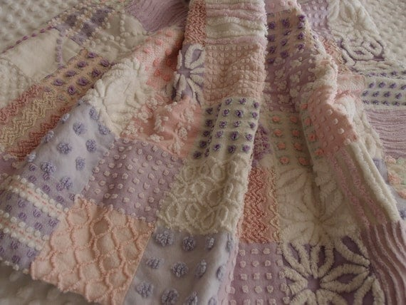 "Lavender & Pink Baby Quilt made from Vintage Chenille - 27"" x 39"""