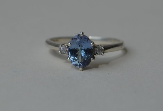 Unheated Blue Tanzanite and Ceylon Sapphire Sterling Silver Ring