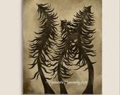 Unique Pine Tree Art 8 x 10 Wall Print, Brown Home Decor, Creepy Tree Print, Tan, Natural Colors, Earthtones, Unusual Art (97)