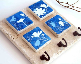 Blue Key Rack, Ceramic Tile Key Hook Wall Organizer, Watercolor Flower Art, Key Holder