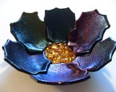 black irridescent flower fused glass bowl tealight holder