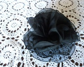 Never Been Used  I. MAGNIN Black Sheer silk  flower Fabric Brooch Pin Rose Shape Made in Italy