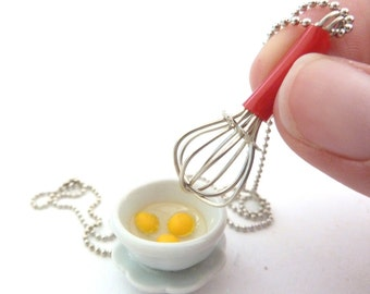 "The Bakers Necklace "" Let's Make Cupcakes"" Miniature whisk charm and White Ceramic Mixing Bowl with Egges graet gift for bakers"