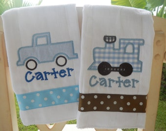 Personalized Truck & Train 2 Burp Cloths Shower Gift Embroidered