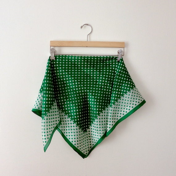 Vintage Square Scarf - Kelly Green and White Polka Dots