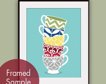 Modern Pattern Stacked Tea Cups - Art Print (Featured in Assorted Colors) Customizable colors (Buy 3 Get One Free)