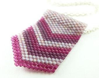 Pink Purple Necklace Beadwork Jewelry Sterling Silver Handmade Mauve
