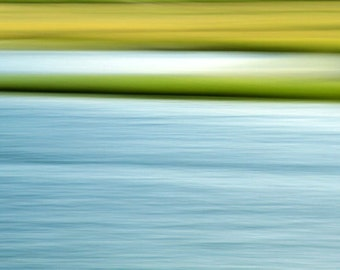 Abstract Photograph, Seascape, Landscape, Nature, Fine Art, Summer Marsh, Blue and Green, 11X14 Mat, Ready to Frame, Wall Hanging