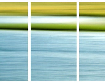 Three Canvas Panels, Large Wall Art,  Blue, Green, Yellow, Water and Marsh, Gallery Wrapped, Ready to Hang, 36X24, Abstract Photography