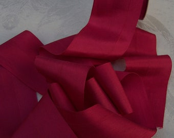 Pure Silk  Ribbon 2 inches  50mm  wide Ruby 3  yds