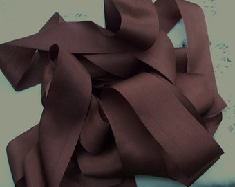 Pure Silk Ribbon  Chestnut/Brown Color 1 1/2 inch  36mm wide 5 yards