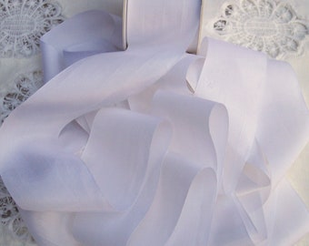 Pure Silk  Ribbon 2 inches  50mm  wide  White 3  yds FINAL LOTS