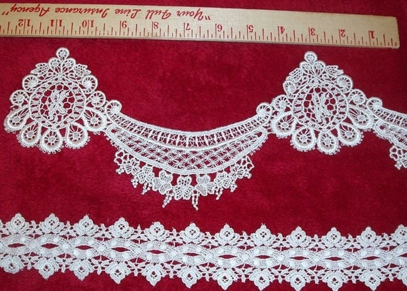 2 Pieces of Vintage Fancy White Lace 2 Yds 30 Ins