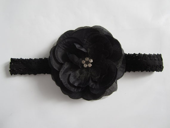 HUGE sale. Beautiful Black layered Flower on black lace headband with rhinestone center.  Perfect photo prop with my rompers